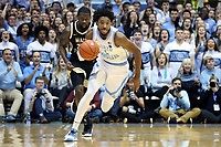 CHAPEL HILL, NC - MARCH 03: Leaky Black #1 of the University of North Carolina brings the ball up the court during a game between Wake Forest and North Carolina at Dean E. Smith Center on March 03, 2020 in Chapel Hill, North Carolina.