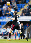St Johnstone v Partick Thistle…28.04.18…  McDiarmid Park    SPFL<br />George Williams gets above Niall Keown<br />Picture by Graeme Hart. <br />Copyright Perthshire Picture Agency<br />Tel: 01738 623350  Mobile: 07990 594431