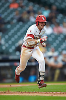 Nick Hanks (44) of the Louisiana Ragin' Cajuns hustles down the first base line against the Vanderbilt Commodores in game five of the 2018 Shriners Hospitals for Children College Classic at Minute Maid Park on March 3, 2018 in Houston, Texas.  The Ragin' Cajuns defeated the Commodores 3-0.  (Brian Westerholt/Four Seam Images)