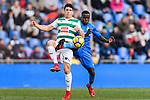 Paulo Oliveira of SD Eibar (L) fights for the ball with Portillo Soler of Getafe CF (R) during the La Liga 2017-18 match between Getafe CF and SD Eibar at Coliseum Alfonso Perez Stadium on 09 December 2017 in Getafe, Spain. Photo by Diego Souto / Power Sport Images