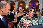 BRUNO VESPA CON MARISELA FEDERICI E MARTINE BERNHEIM ORSINI <br /> RICEVIMENTO 14 LUGLIO 2021 AMBASCIATA DI FRANCIA<br /> PALAZZO FARNESE ROMA