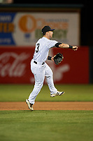 Lancaster JetHawks second baseman Max George (3) makes a throw to first base during a California League game against the Visalia Rawhide at The Hangar on May 17, 2018 in Lancaster, California. Lancaster defeated Visalia 11-9. (Zachary Lucy/Four Seam Images)