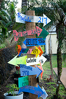 Milage sign. Hawaii, the big island