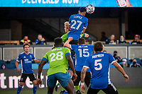 SAN JOSE, CA - MAY 12: Marcos Lopez #27 of the San Jose Earthquakes heads the ball during a game between San Jose Earthquakes and Seattle Sounders FC at PayPal Park on May 12, 2021 in San Jose, California.