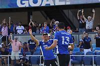 SAN JOSE, CA - AUGUST 8: Nathan Cardoso #13 of the San Jose Earthquakes celebrates scoring with Cristian Espinoza #10 during a game between Los Angeles FC and San Jose Earthquakes at PayPal Park on August 8, 2021 in San Jose, California.