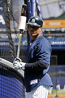 Apr 02, 2011; Bronx, NY, USA; New York Yankees infielder Robinson Cano (24) during game against the Detroit Tigers at Yankee Stadium. Yankees defeated the Tigers 10-6. Mandatory Credit: Tomasso De Rosa