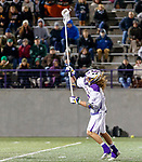 Troy Reh (#10) carries a clear into the attack as UAlbany Men's Lacrosse defeats Binghamton 18-7 on Apr. 20 at Casey Stadium.