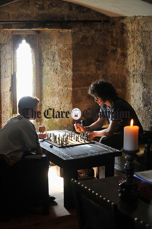 Phelim and Shane Cody playing chess in an alcove at Castlebawn. Photograph  by John Kelly.