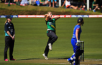 Central's Melissa Hansen bowls during the women's Dream11 Super Smash T20 cricket match between the Central Hinds and Auckland Hearts at Pukekura Park in New Plymouth, New Zealand on Thursday, 31 December 2020. Photo: Dave Lintott / lintottphoto.co.nz