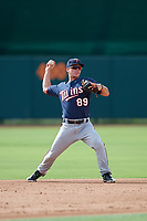 GCL Twins second baseman Hunter Lee (89) throws to first base during the first game of a doubleheader against the GCL Orioles on August 1, 2018 at CenturyLink Sports Complex Fields in Fort Myers, Florida.  GCL Twins defeated GCL Orioles 7-6 in the completion of a suspended game originally started on July 31st, 2018.  (Mike Janes/Four Seam Images)