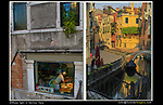 Italy, Venice.  <br /> The golden morning light is wonderful for photography, not only because its is warmer, but the contrast range is less (right photo). This means, when you expose for the bright areas (highlights), the shadows will be less dark and provide more color and detail than at mid-afternoon. <br /> The left photo was take at noon. Here, I composed the entire image in the shadows, with no bright areas (highlights). This mimics a cloudy sky and a low contrast range, yielding great saturation.