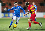 Partick Thistle v St Johnstone…23.02.16   SPFL   Firhill, Glasgow<br />Danny Swanson is closed down by Steven Lawless<br />Picture by Graeme Hart.<br />Copyright Perthshire Picture Agency<br />Tel: 01738 623350  Mobile: 07990 594431