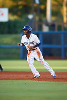 Charlotte Stone Crabs second baseman Vidal Brujan (2) leads off second base during a game against the Bradenton Marauders on August 6, 2018 at Charlotte Sports Park in Port Charlotte, Florida.  Charlotte defeated Bradenton 2-1.  (Mike Janes/Four Seam Images)
