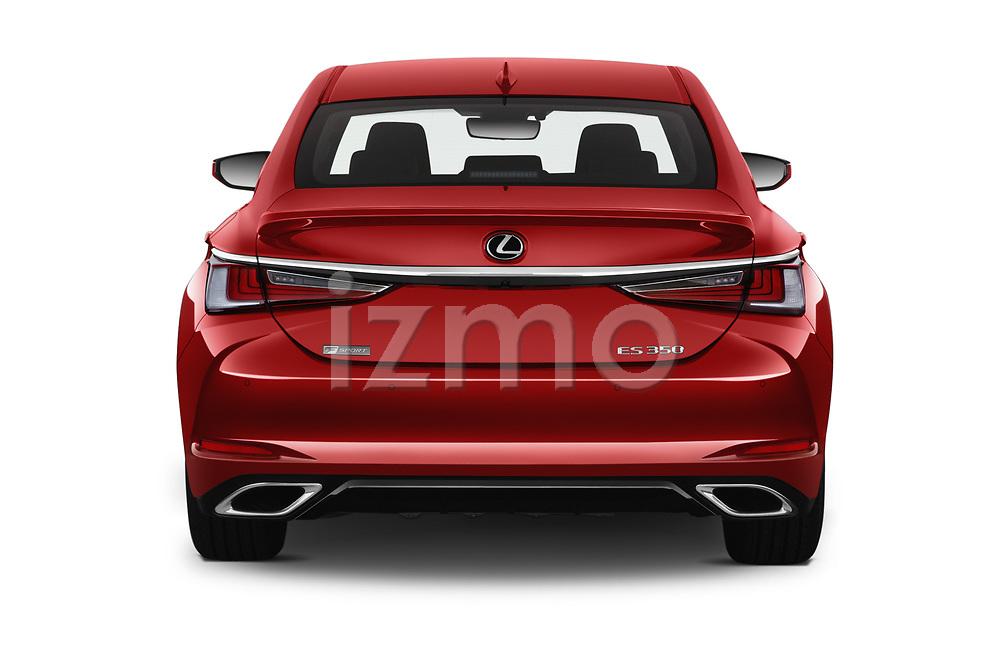 Straight rear view of 2020 Lexus ES-350 F-Sport 4 Door Sedan Rear View  stock images