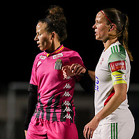 Ines Dhaou and Lenie Onzia (8 OHL) pictured during a female soccer game between Oud Heverlee Leuven and Sporting de Charleroi on the seventh matchday of the 2020 - 2021 season of Belgian Womens Super League , sunday 15 th of November 2020  in Heverlee , Belgium . PHOTO SPORTPIX.BE | SPP | SEVIL OKTEM