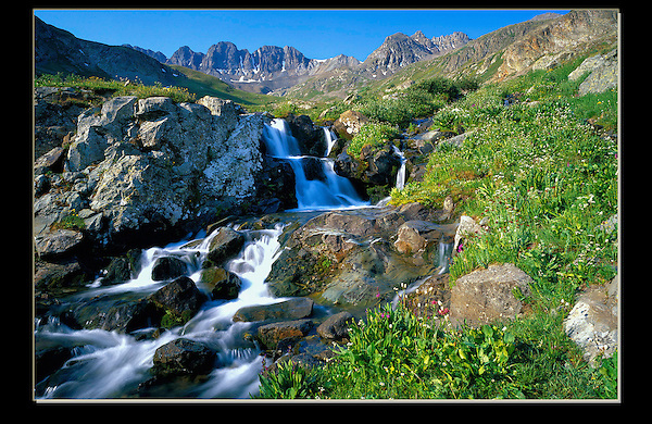 """From John's 3rd book """"Mastering Nature Photography"""". Waterfall in American Basin, San Juan Mountains. <br /> John offers private photo tours of Colorado's mountains."""