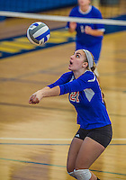 27 October 2013: Purchase College Panthers Setter Olivia Schoeller, a Freshman from Ronkonkoma, NY, in action during a Skyline Conference game against the Yeshiva University Maccabees at the College of Mount Saint Vincent in Riverdale, NY. The Panthers defeated the Maccabees 3-0 in NCAA women's volleyball play. Mandatory Credit: Ed Wolfstein Photo *** RAW (NEF) Image File Available ***