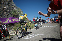 Chris Froome (GBR/SKY) cheered up the Lacets du Grand Colombier (Cat1/891m/8.4km/7.6%)<br /> <br /> stage 15: Bourg-en-Bresse to Culoz (160km)<br /> 103rd Tour de France 2016