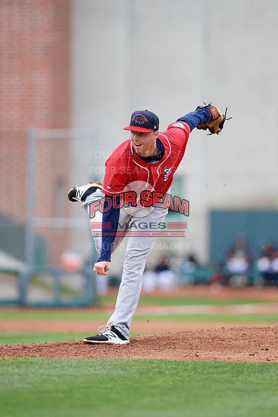 New Hampshire Fisher Cats starting pitcher Josh DeGraaf (22) delivers a pitch during a game against the Erie SeaWolves on June 20, 2018 at UPMC Park in Erie, Pennsylvania.  New Hampshire defeated Erie 10-9.  (Mike Janes/Four Seam Images)