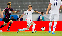GUADALAJARA, MEXICO - MARCH 24: Jackson Yueill #6 of the United States dribbles with the ball during a game between Mexico and USMNT U-23 at Estadio Jalisco on March 24, 2021 in Guadalajara, Mexico.