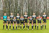 team picture Eendracht Aalst ( Goalkeeper Silke Baccarne (1) of Eendracht Aalst , Tiana Andries (11) of Eendracht Aalst , Stephanie Van Gils (27) of Eendracht Aalst , Margaux Van Ackere (37) of Eendracht Aalst , Valentine Hannecart (8) of Eendracht Aalst , Loes Van Mullem (33) of Eendracht Aalst and Anke Vanhooren (7) of Eendracht Aalst , Niekie Pellens (41) of Eendracht Aalst , Justine Blave (22) of Eendracht Aalst , Annelies Van Loock (9) of Eendracht Aalst , Chloe Van Mingeroet (17) of Eendracht Aalst ) before a female soccer game between Standard Femina de Liege and Eendracht Aalst on the 12 th matchday of the 2020 - 2021 season of Belgian Scooore Womens Super League , saturday 30 th of January 2021 in Angleur , Belgium . PHOTO SPORTPIX.BE   SPP   STIJN AUDOOREN