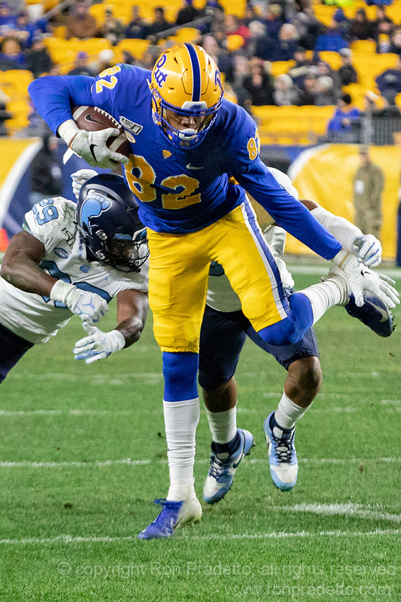 Pitt wide receiver Jared Wayne (82). The Pitt Panthers defeated the North Carolina Tarheels 34-27 in overtime in the football game on November 14, 2019 at Heinz Field, Pittsburgh, Pennsylvania.