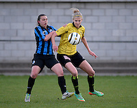 20140502 - VARSENARE , BELGIUM : Lierse's Justine Vanhaevermaet (l) pictured with Brugge's Jody Vangheluwe (l)  during the soccer match between the women teams of Club Brugge Vrouwen  and WD Lierse SK  , on the 26th matchday of the BeNeleague competition on Friday 2 May 2014 in Varsenare .  PHOTO DAVID CATRY