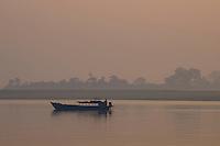 Sunrise on the Ayeyarwaddy River near Minguin Mandalay, Myanmar/Burma