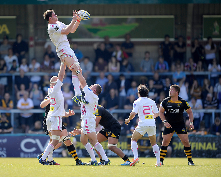 Alexandre Flanquart of Stade Francais takes an unopposed lineout ball during the first leg of the European Rugby Champions Cup play-off match between London Wasps and Stade Francais at Adams Park on Sunday 18th May 2014 (Photo by Rob Munro)