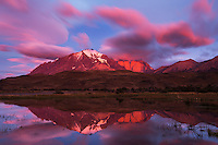 Beautiful colors at sunset over the Torres del Paine, Patagonia, Chile