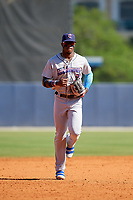 Jacksonville Jumbo Shrimp center fielder Monte Harrison (3) jogs back to the dugout during a game against the Biloxi Shuckers on May 6, 2018 at MGM Park in Biloxi, Mississippi.  Biloxi defeated Jacksonville 6-5.  (Mike Janes/Four Seam Images)