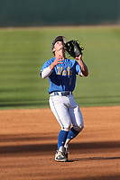 Matt McLain (1) of the UCLA Bruins in the field during a game against the Cal State Fullerton Titans at Jackie Robinson Stadium on March 6, 2021 in Los Angeles, California. UCLA defeated Cal State Fullerton, 6-1. (Larry Goren/Four Seam Images)