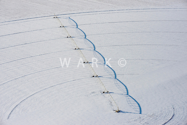 Circular irrigation sprinkler in winter. Feb 2014. Pueblo County, Colorado. 89787