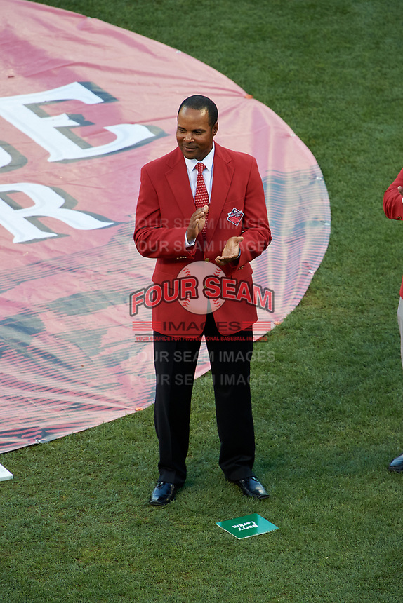 Barry Larkin during the Franchise Four introductions before the MLB All-Star Game on July 14, 2015 at Great American Ball Park in Cincinnati, Ohio.  (Mike Janes/Four Seam Images)