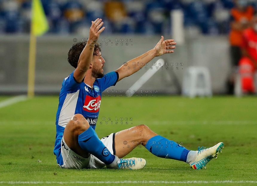 Dries Mertens of Napoli  during the  italian serie a soccer match,  SSC Napoli - AC Milan       at  the San  Paolo   stadium in Naples  Italy , July 12, 2020