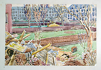 BNPS.co.uk (01202 558833)Pic: DominicWinter/BNPS<br /> <br /> Bombed out houses.<br /> <br /> Unseen harrowing drawings which vividly capture the horrors of the Blitz during World War Two have come to light 78 years later.<br /> <br /> Artist Ivor Beddoes began the war as an actor in the West End but quit to become a stretcher bearer as the German bombs rained down on London.<br /> <br /> He made sketches on the spot and then added watercolours later, documenting in graphic detail the devastation caused.<br /> <br /> Beddoes' drawings show bodies strewn on the blood soaked ground as the Luftwaffe did their worst. Others reveal frantic searches for survivors in the rubble of decimated buildings.<br /> <br /> The drawings have emerged for sale with auction house Dominic Winter, of Cirencester, Gloucs. They are expected to fetch £5,000.