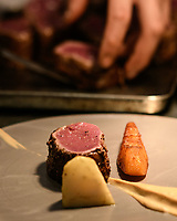 Melbourne, July 21, 2018 - The Loin of Venison dish from the Salon Paul Bocuse menu at Philippe Restaurant in Melbourne, Australia. Photo Sydney Low