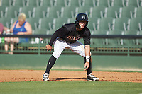Tyler Frost (1) of the Kannapolis Intimidators takes his lead off of first base against the Hagerstown Suns at Kannapolis Intimidators Stadium on May 6, 2018 in Kannapolis, North Carolina. The Intimidators defeated the Suns 4-3. (Brian Westerholt/Four Seam Images)