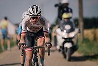 race leaders Sean de Bie (BEL/Verandas Willems-Crelan) & eventual winner Krists Neilands (LAT/Israel Cycling Academy)<br /> <br /> 3rd Dwars Door Het hageland 2018 (BEL)<br /> 1 day race:  Aarschot > Diest: 198km