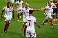 4th October 2020; Camp Nou, Barcelona, Catalonia, Spain; La Liga Football, Barcelona versus Sevilla;  De Jong of Sevilla celebrates after scoring in the 8th minute for 0-1