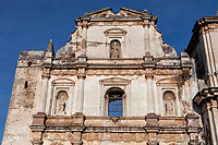 Antigua, Guatemala.  Facade of San Agustin Church, destroyed by earthquakes in 18th. century.  Plaster over brick construction.