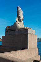 Egyptian Sphinx Statue On River Neva Embankment, Saint Petersburg