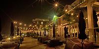 A nighttime view of the Hotel Eldorado boardwalk in Kelowna BC.