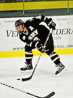 2 January 2011: Army Black Knight defenseman Marcel Alvarez, a Junior from Cleveland, Ohio, in action against the Ohio State University Buckeyes at Gutterson Fieldhouse in Burlington, Vermont. The Buckeyes defeated the Black Knights 5-3 to win the 2010-2011 Catamount Cup. Mandatory Credit: Ed Wolfstein Photo
