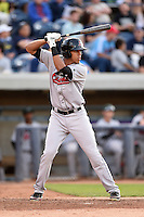 Great Lakes Loons outfielder Alex Santana (21) at bat during a game against the West Michigan Whitecaps on June 5, 2014 at Fifth Third Ballpark in Comstock Park, Michigan.  West Michigan defeated Great Lakes 6-2.  (Mike Janes/Four Seam Images)
