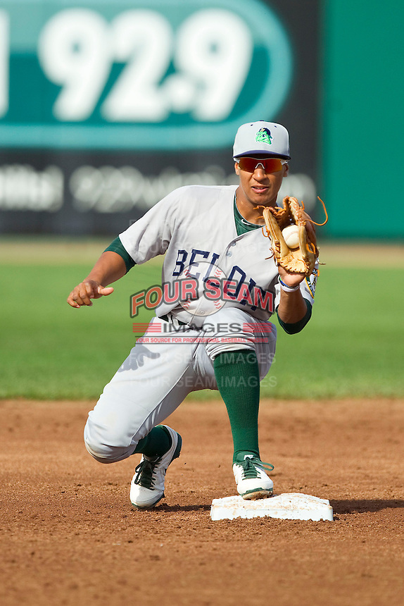 Christopher Bostick (20) of the Beloit Snappers fields a throw at second base during the Midwest League game against the Lansing Lugnuts at Cooley Law School Stadium on May 5, 2013 in Lansing, Michigan.  The Lugnuts defeated the Snappers 5-4.  (Brian Westerholt/Four Seam Images)