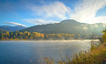 Idaho, North, Bonner County, Clark Fork. Morning mists of autumn over the Clark Fork River.