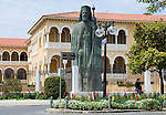 CYPRUS, capital Nicosia (Lefkosia): Archbishop Makarios III. monument in front of Archbishopric Palace at Archbishop Kiprianós  Square. Makarios resided here as Archbishop and first President of independent Cyprus until 1977<br />