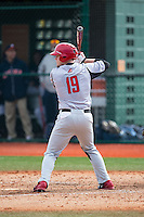 David MacKinnon (19) of the Hartford Hawks at bat against the Virginia Cavaliers at The Ripken Experience on February 27, 2015 in Myrtle Beach, South Carolina.  The Cavaliers defeated the Hawks 5-1.  (Brian Westerholt/Four Seam Images)