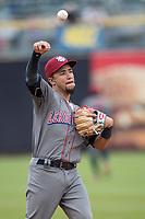 Lehigh Valley IronPigs shortstop JP Crawford (3) makes a throw to first base against the Toledo Mud Hens during the International League baseball game on April 30, 2017 at Fifth Third Field in Toledo, Ohio. Toledo defeated Lehigh Valley 6-4. (Andrew Woolley/Four Seam Images)